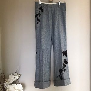 elevenses pants 66170 with floral mixed wool Sz 4